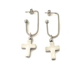 Oorbellen kruis stainless steel zilver