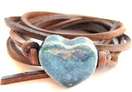 Armband leren veter met jeans hart