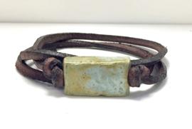 Armband keramiek blokje antiekgroen
