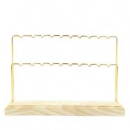 Sieraden display voor oorbellen 2 rijen wood-gold