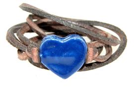 Armband leren veter met blauw hart