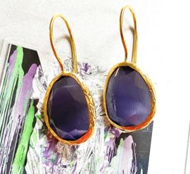 Oorbellen cateye steen paars