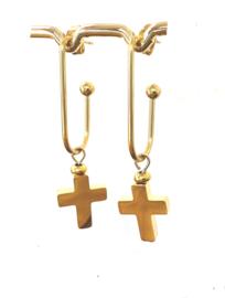 Oorbellen kruis stainless steel goud