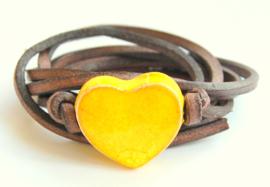 Armband leren veter met geel hart