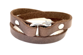 Heren armband harpsluiting bruin