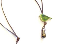 Ketting vogeltje keramiek olijfgroen