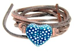 Armband leren veter met stippen hart