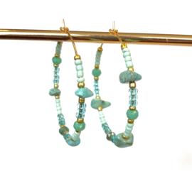 Grote gouden oorringen turquoise