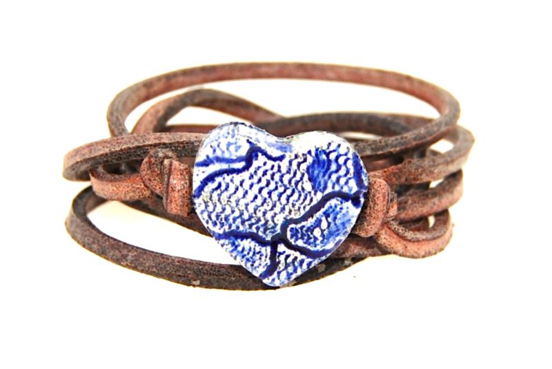 Armband leer met Delfts Blauw hart