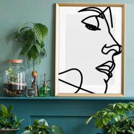 Face Close Up Line Art Print Gloss 40x50