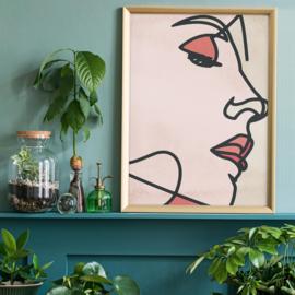 Face Close Up Line Art Watercolour Print