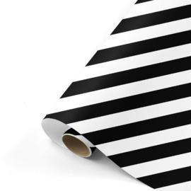 Cadeaupapier Bold Lines | Zwart/wit | 70x200 cm