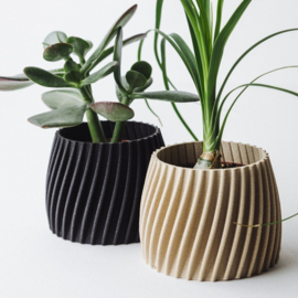 Flowerpot Trovex S  | Recycled wood | Beige
