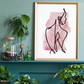 Zijwaartse Blik Line Art Print | 21x30