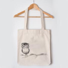 Jutebeutel nachhaltig - stabile Einkaufstasche -  Brilleneule - natur