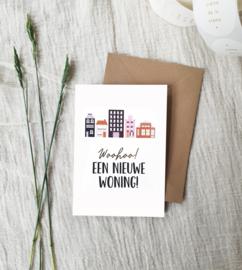 Dubbele wenskaart + envelop | Woohoo! Een nieuwe woning | Goudfolie
