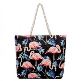 Strandtas Flamingo | Zwart