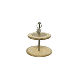 Cake stand two tier | Mangowood | Yellow