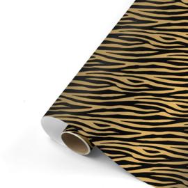 Cadeaupapier Zebra zwart/goud 70x200 cm