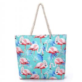 Strandtas Flamingo | Blauw