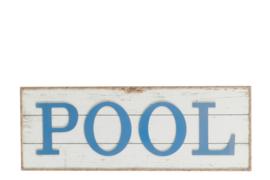 Muurplaat | Pool | Hout | Wit Blauw