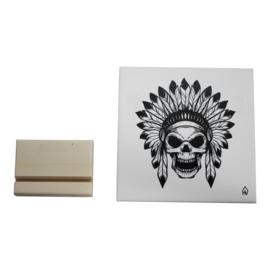 Housevitamin | Decoratieve tegel Skull | Keramiek | Wit