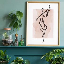 Vrouw Zijwaarts Line Art Waterverf Print | 40x50