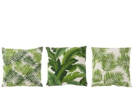 J-Line Kussen Tropical Vierkant Katoen Wit/Groen | Backorder