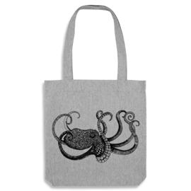 Stevige jute boodschappentas Octopus - grijs