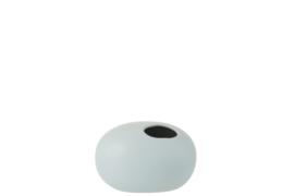 J-Line Vaas Ovaal Keramiek Mat Pastel Blauw Small | Backorder