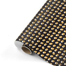 Cadeaupapier Dots | Zwart/goud | 70x200 cm