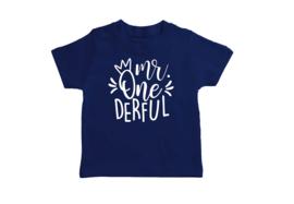 T-shirt Donker Blauw Mr. One-derful