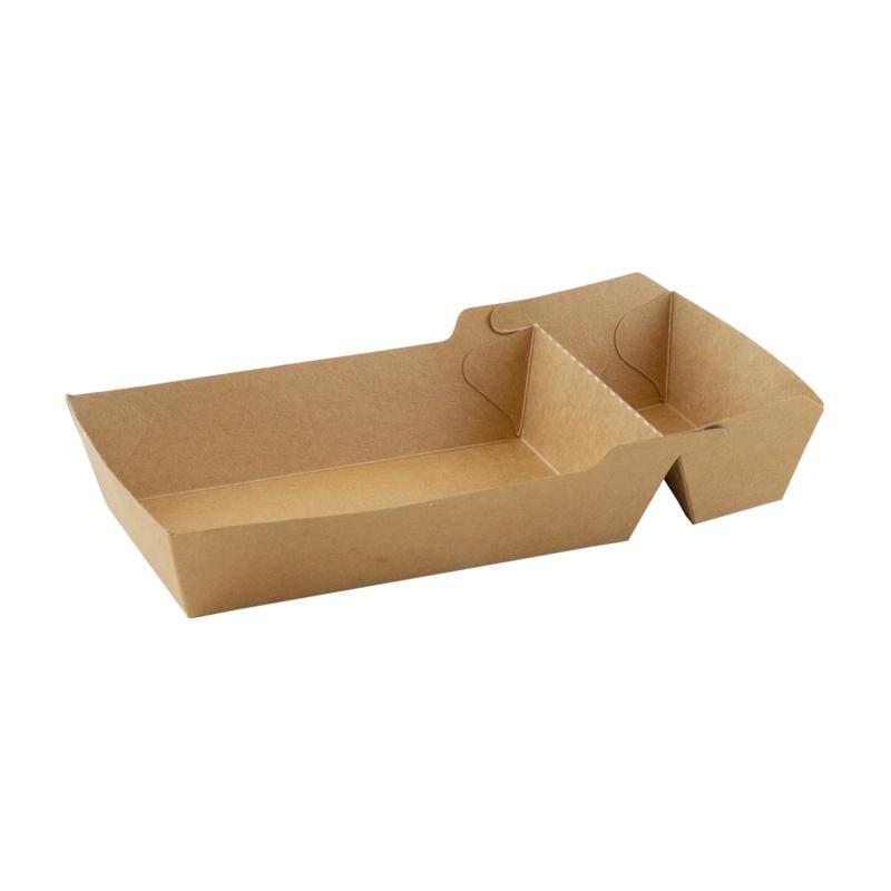 kraft/PLA coated snackbakje/verpakt per 600 ex