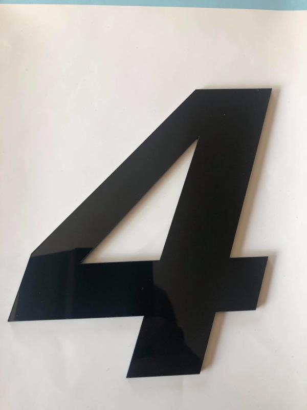 Huisnummer zwart plexiglas/acrylaat cijfer 4