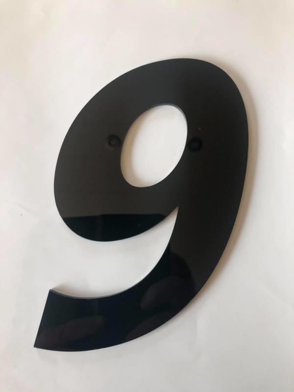 Huisnummer zwart plexiglas/acrylaat cijfer 9