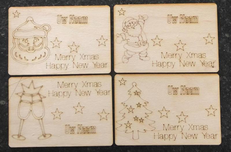 Houten Kerst-Nieuwjaarskaart