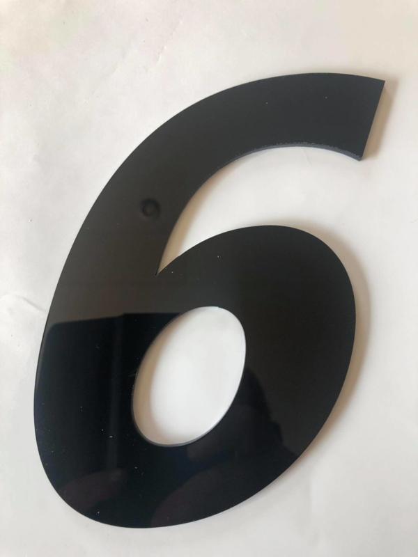 Huisnummer zwart plexiglas/acrylaat cijfer 6
