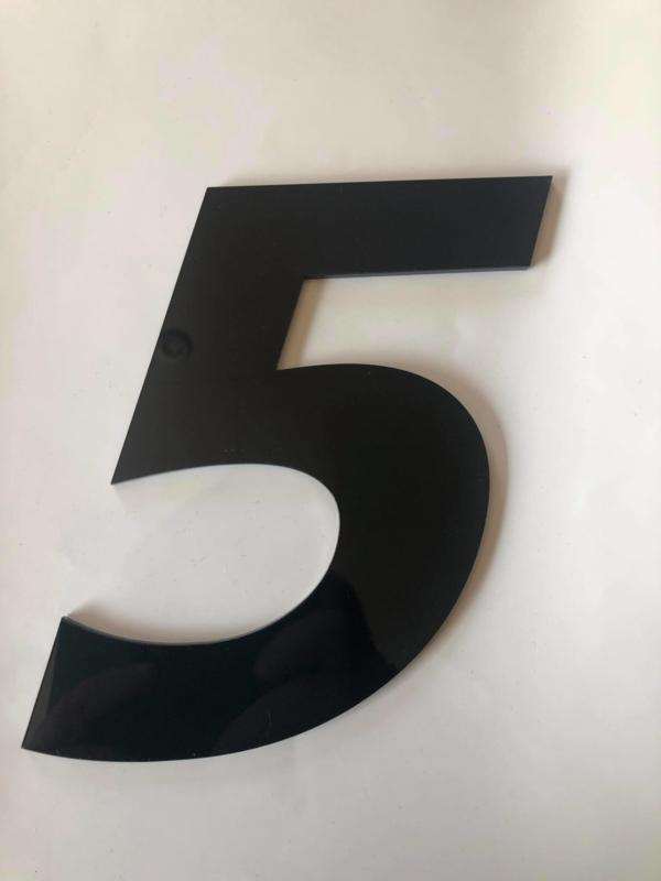 Huisnummer zwart plexiglas/acrylaat cijfer 5
