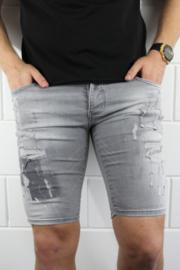 Intellegence slimfit korte spijkerbroek grijs met design  SJNS001