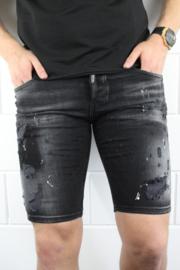 Intellegence slimfit korte spijkerbroek zwart met design en witte verfvlekken SJNS002