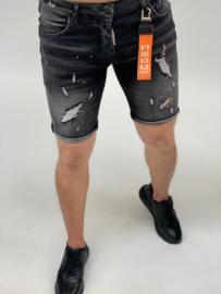 RYMN short jeans Icon design zwart met oranje verfvlekken SJNS014