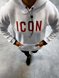 Hoodie Icon wit rood HD008