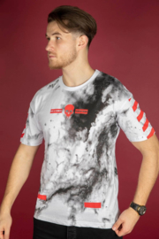Off-white design wit met rood suede look TS092