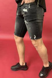 RYMN short jeans black white cracks SJNS013