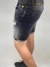 RYMN short jeans Icon design zwart met groene verfvlekken SJNS015