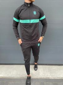 RYMN trainingspak zwart turquoise volle rits TP017