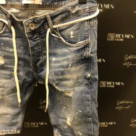 R8 short jeans blauw design en wit paint SJNS012