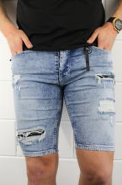 R8 slimfit korte spijkerbroek blauw met zwart/grijs legerprint in design SJNS003