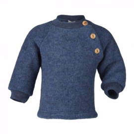 Wolfleece raglan baby trui, blauw-melange | Engel
