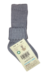 Wollen sokje met omslag, grijs | Grödo